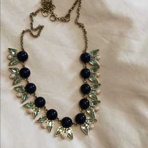J Crew navy green and white necklace